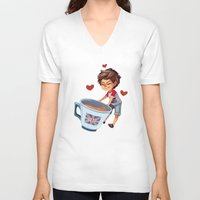 louis V-neck T-shirts featuring Louis & Tea by . . x