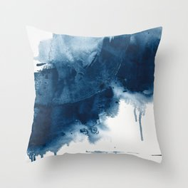 Where does the dance begin? A minimal abstract acrylic painting in blue and white by Alyssa Hamilton Throw Pillow