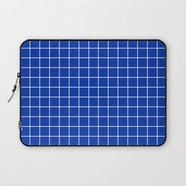 UA blue - blue color - White Lines Grid Pattern Laptop Sleeve