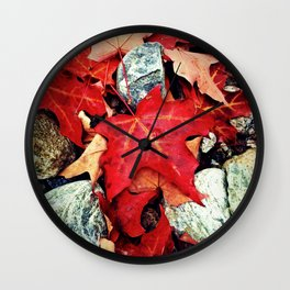Red Leaves on the Rocks Wall Clock