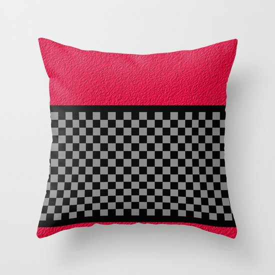 Checkered/Textured Red Throw Pillow