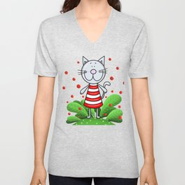 Cat and red bubbles Unisex V-Neck