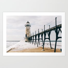 Manistee Lighthouse In Winter Art Print