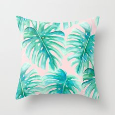 Paradise Palms Blush Throw Pillow