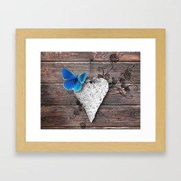 Heart & butterfly | coeur et papillon Framed Art Print