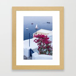 Santorini, Greece all Blue and White Framed Art Print