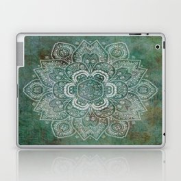 Silver White Floral Mandala on Green Textured Background Laptop & iPad Skin