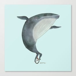 Whale Unicycle Canvas Print