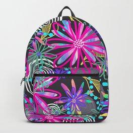 Dotty Flowers in hot pink, aqua & grey Backpack