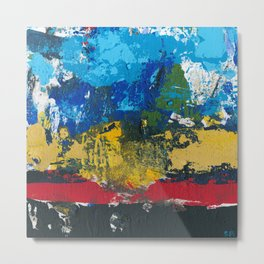 Lucas Abstract Painting Blue Black Yellow Metal Print