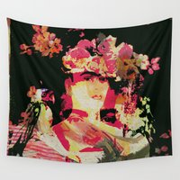 frida Wall Tapestries featuring Frida by Fernando Vieira