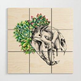 Rock Rose Cat Skull Wood Wall Art