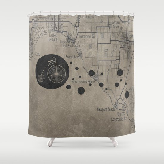 Bike Map Shower Curtain