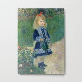 Girl with a Watering Can Metal Print