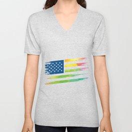 LGBT Gay Pride Flag USA Gifts Unisex V-Neck