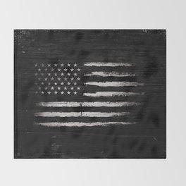 American flag White Grunge Throw Blanket