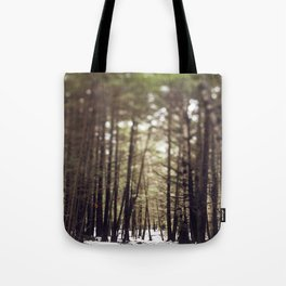 Wintry Path Through the Woods Tote Bag