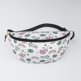 Sweet baby sloth kawaii girls jungle leaves pattern pink green Fanny Pack