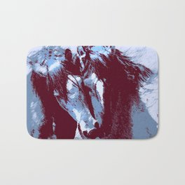 Two Piebald Blue Horses Bath Mat