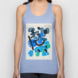 Mid Century Modern Abstract Colorful Art Patterns Teal Blue Turquoise Bubbles Raindrops Geometric Unisex Tank Top