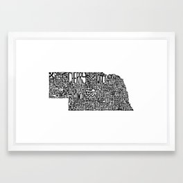 Typographic Nebraska Framed Art Print