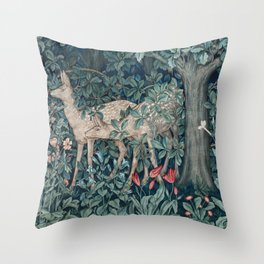 William Morris Forest Deer Greenery Tapestry Throw Pillow