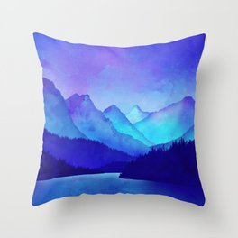 Cerulean Blue Mountains Throw Pillow