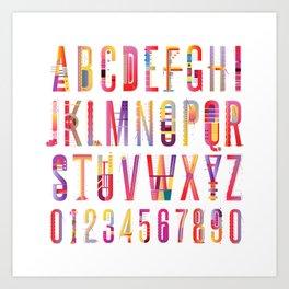 Cheerful geometric letters Art Print