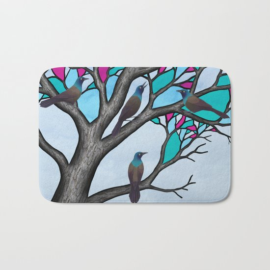 grackles in the stained glass tree Bath Mat
