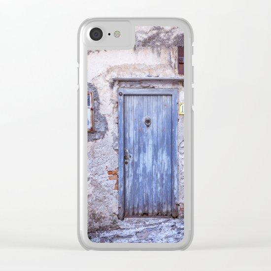 Old Blue Italian Door Clear iPhone Case