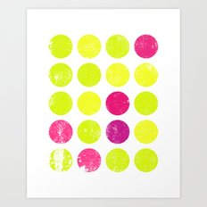 Yellow and Pink Dots Art Print