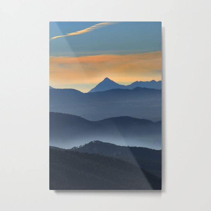 """Misty mountains"". Sunset at the mountains Metal Print"