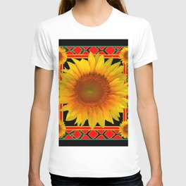 RED-TEAL BLACK  DECO YELLOW SUNFLOWERS T-shirt