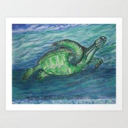 Turtle At Sea Art Print