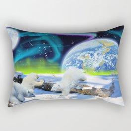 Joyful - Polar Bear Cubs and Planet Earth Rectangular Pillow