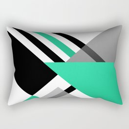 Sophisticated Ambiance - Silver & Greenish Blue Rectangular Pillow