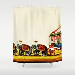 Classical Masterpiece 1820 'Maharaja Elephant-drawn Carriage, Bombay, Indian - Artist Unknown Shower Curtain