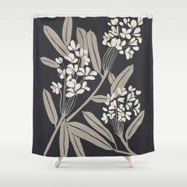 Boho Botanica Black Shower Curtain