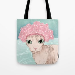 No Hair Don't Care - Sphynx Cat Wearing a Shower Cap in a Bathtub - Wrinkly Hairless Kitty Tote Bag