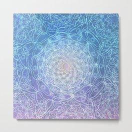 Water mandala Waves Blue lavender reflection Metal Print