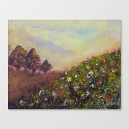 Wildflowers on a hill Canvas Print