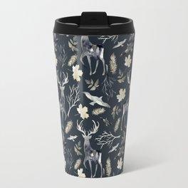 Deer and birds. Dark pattern Travel Mug