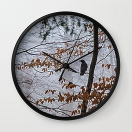 Crow in the mist Wall Clock