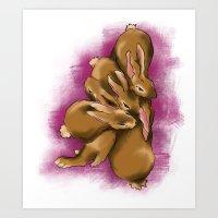 Snuggle Bunnies Art Print