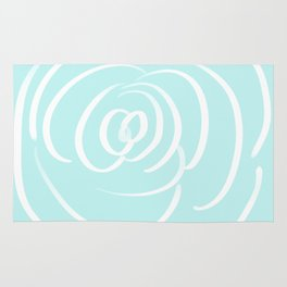 Fresh Aqua and White Rose Design Rug