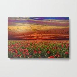 Red Poppy Meadows | Oil Painting Metal Print