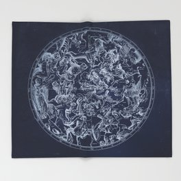 Vintage Constellations & Astrological Signs | White Throw Blanket