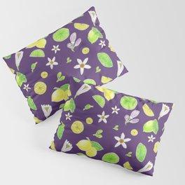 Yellow Green Lemon and Azahar Flower Pillow Sham