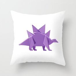 Origami Stegosaurus Throw Pillow