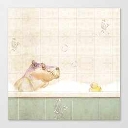 Hippo in the bath Canvas Print